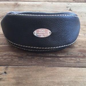 Fendi brown pebbled leather soft sunglass case.